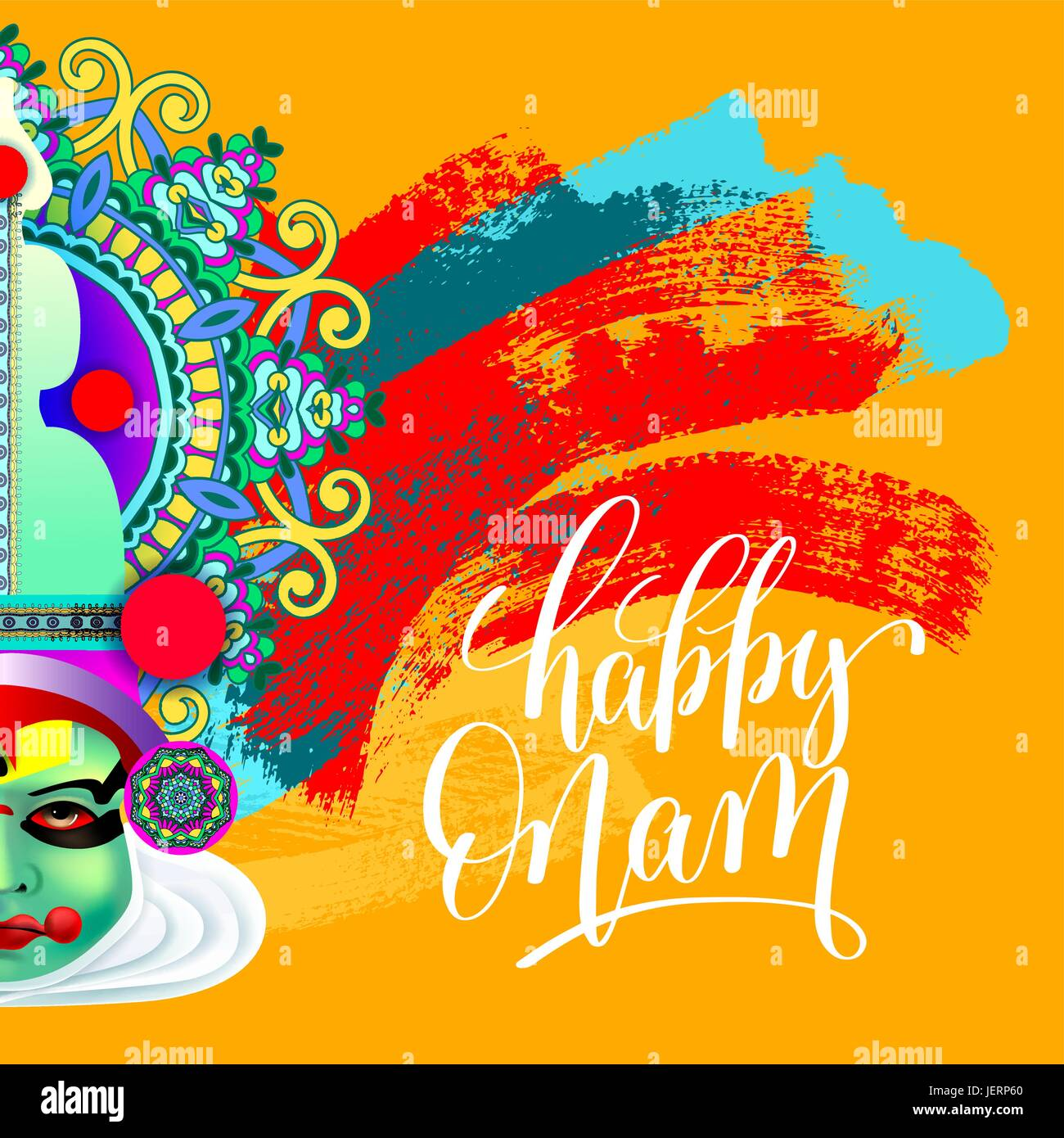 Happy Onam Greeting Card With Indian Kathakali Dancer Face Stock
