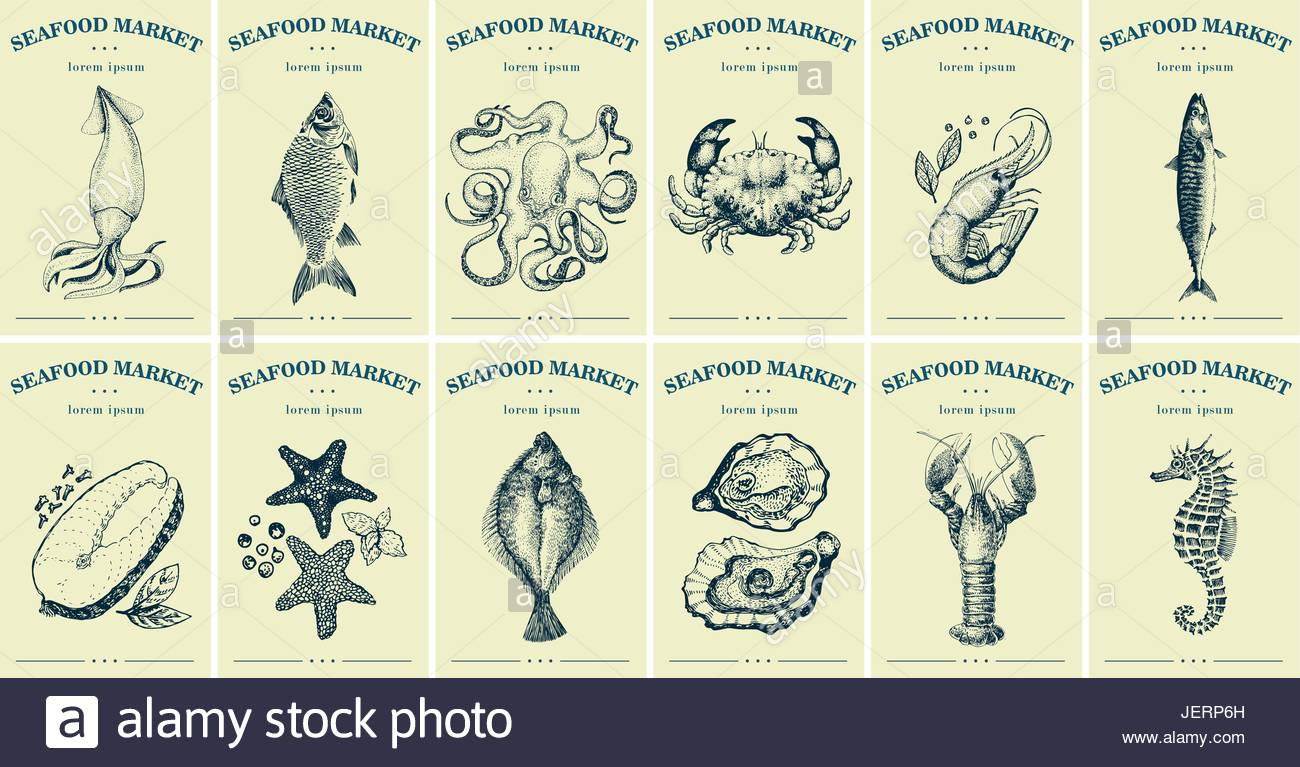labels with seafood and fishes set templates price tags for shops