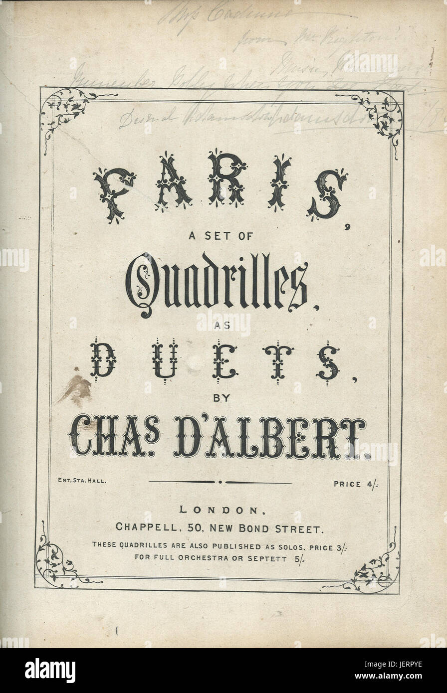 Paris -  a set of quadrilles as duets - 19 th century sheet music cover - Stock Image