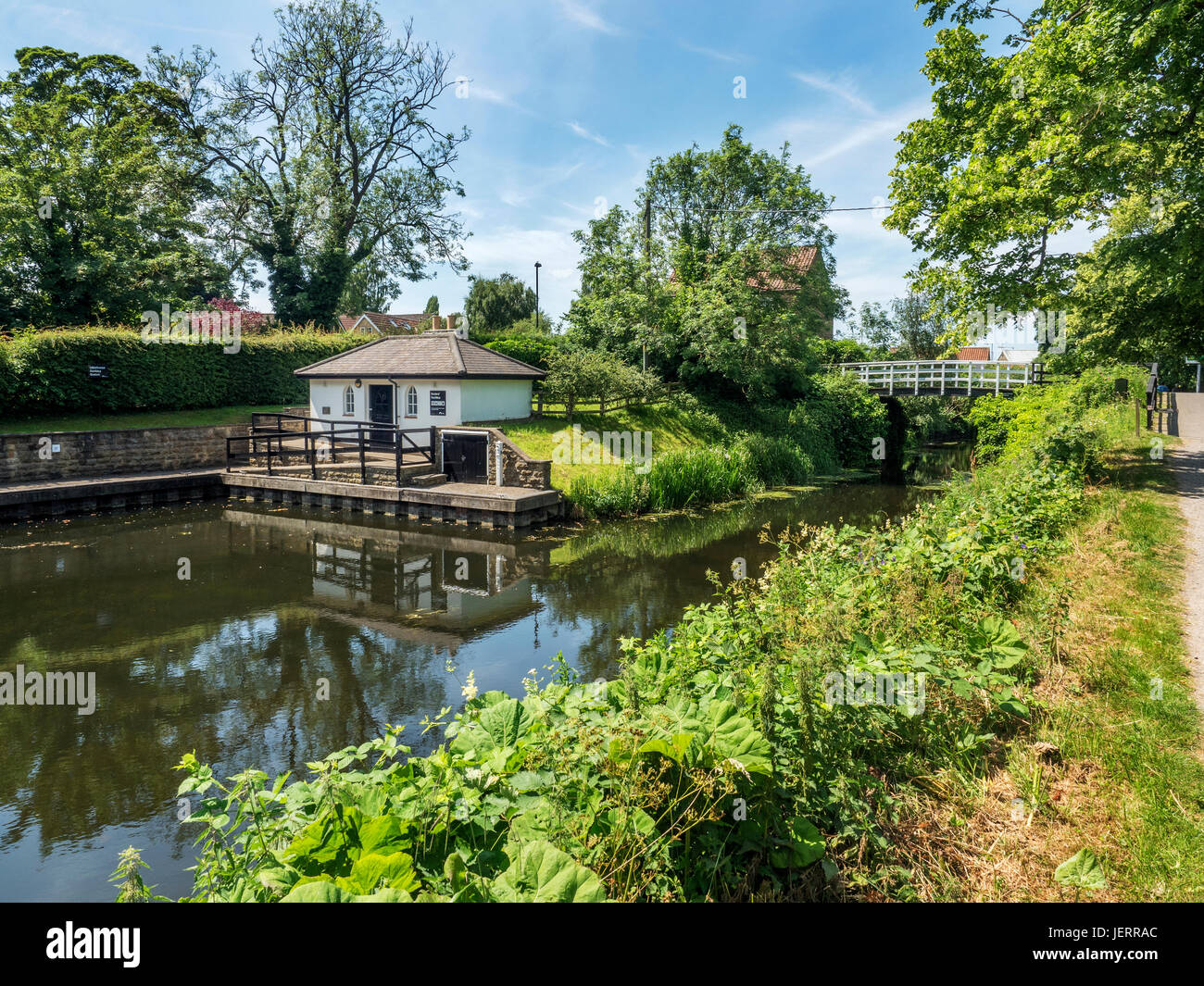 Mooring with Boaters Facilities and Foorbridge on the Ripon Canal at Ripon North Yorkshire England - Stock Image