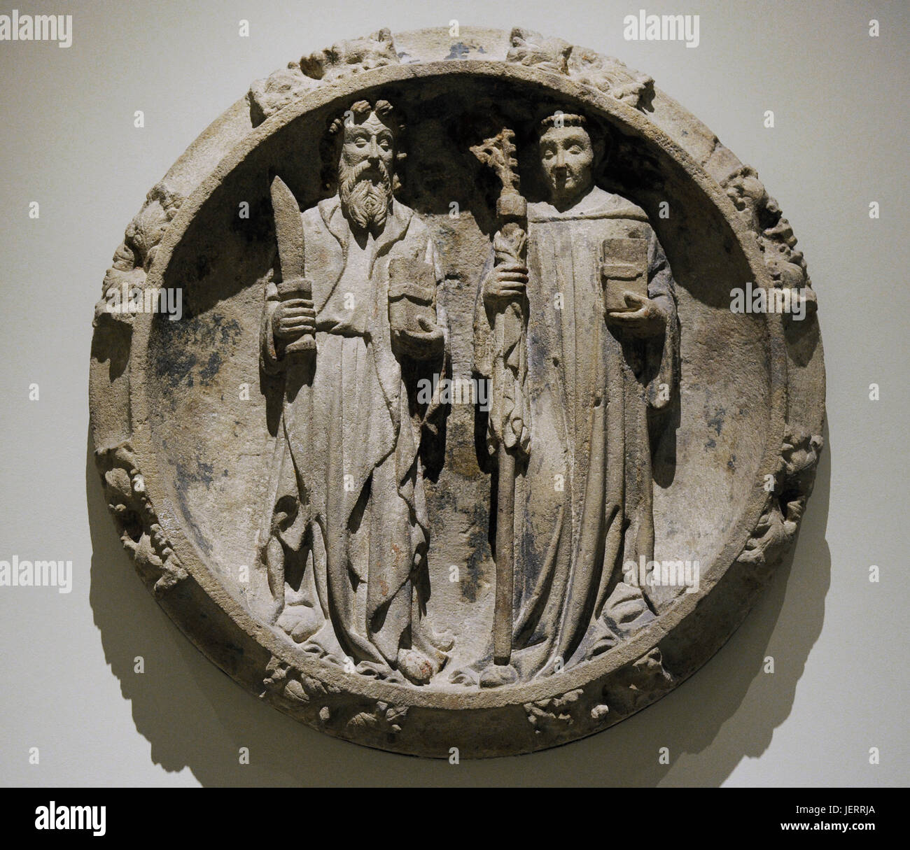 Key stone depicting Saint Bartholomew and an Abbot Saint, end of 14th century. Attributed to Jordi de Deu (active - Stock Image