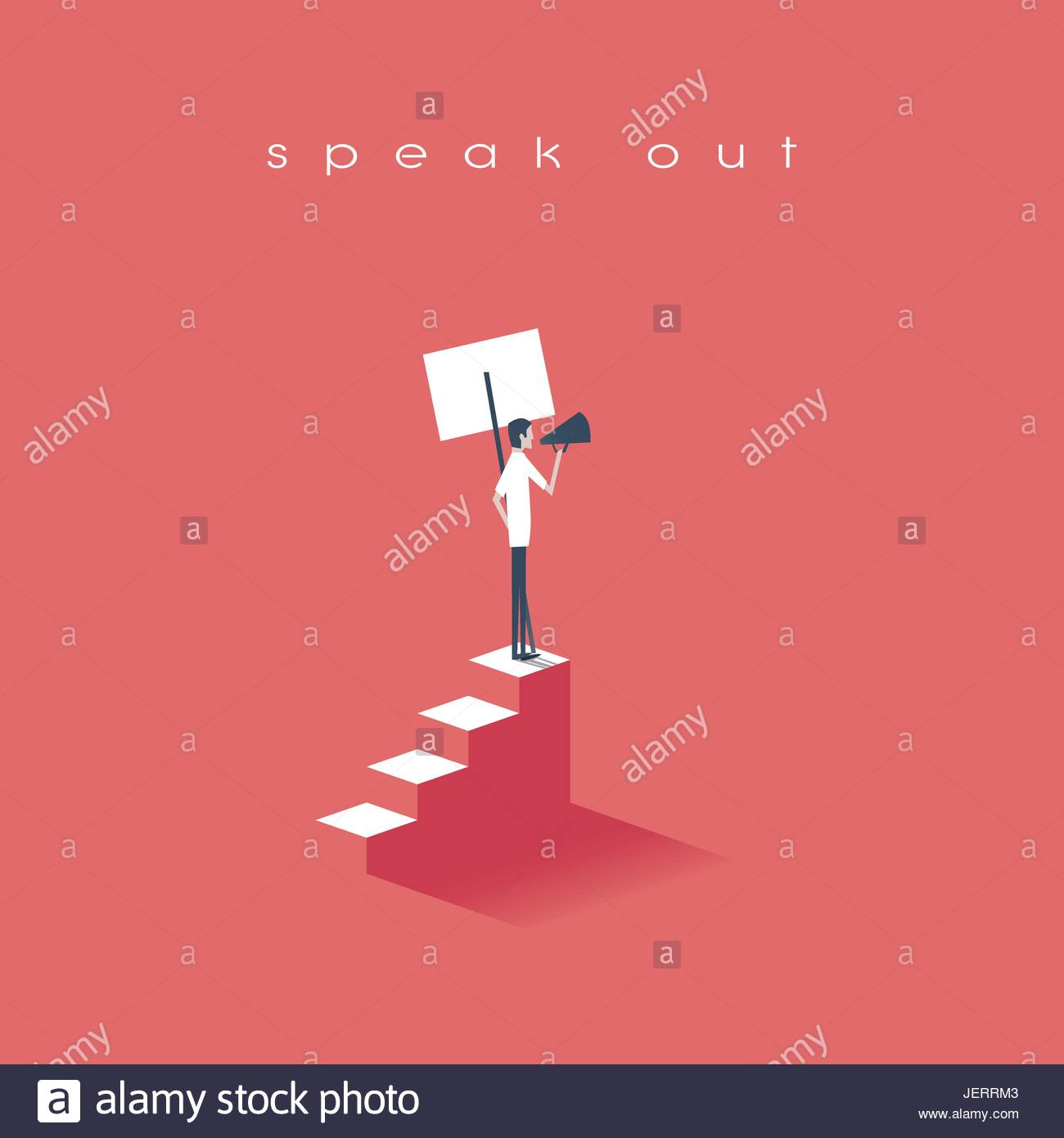 Protester speaking through megaphone or bullhorn and holding a placard, banner vector icon. Symbol of activism, Stock Vector