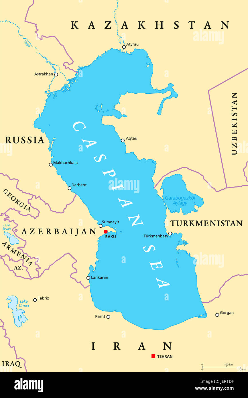Caspian Sea region political map with most important cities, borders, rivers and lakes. Body of water, basin, and - Stock Image