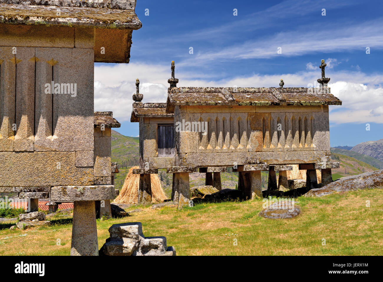 Portugal: Historic Corn storages in Lindoso Stock Photo