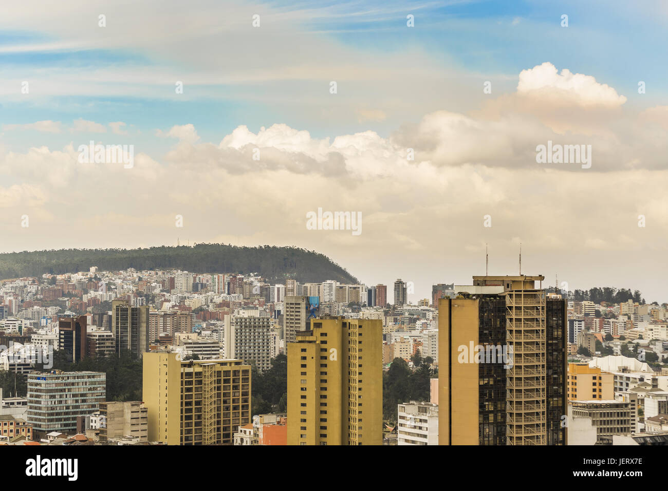 Cityscape Aerial View of Quito Ecuador - Stock Image