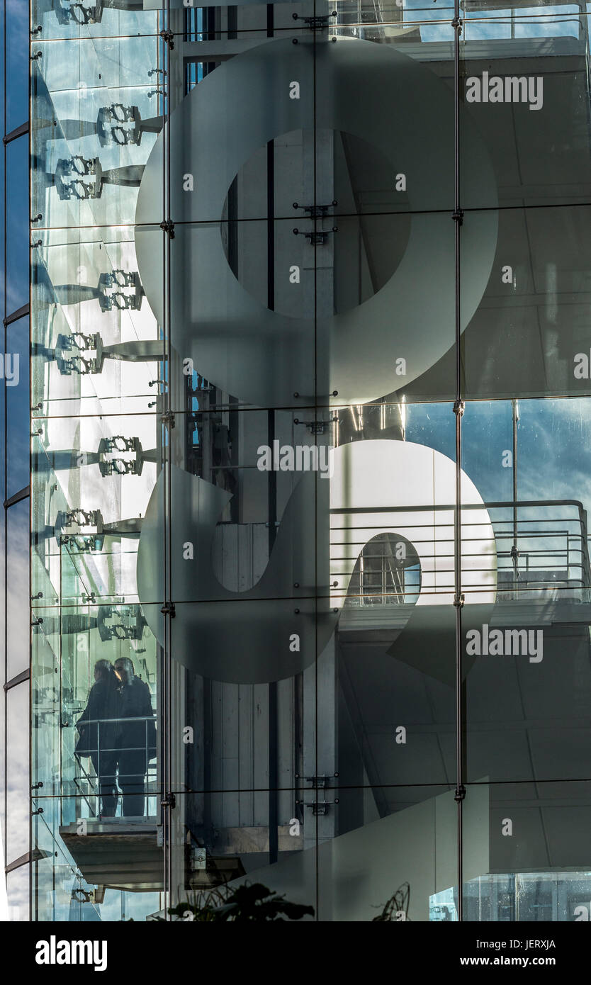 People in a lift at The Centro de Arte Reina Sofia, art Gallery, designed by architect Jean Nouvel, Madrid, Spain - Stock Image