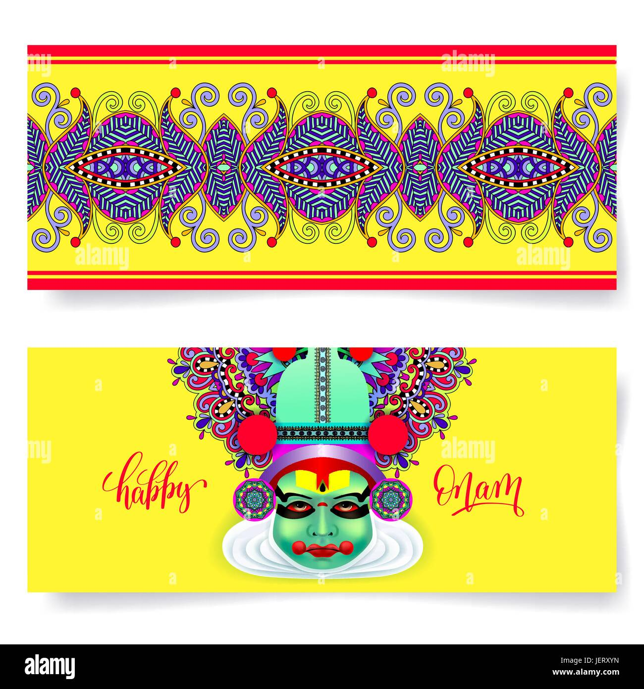 Happy Onam Holiday Horizontal Greeting Card Banner Design Stock
