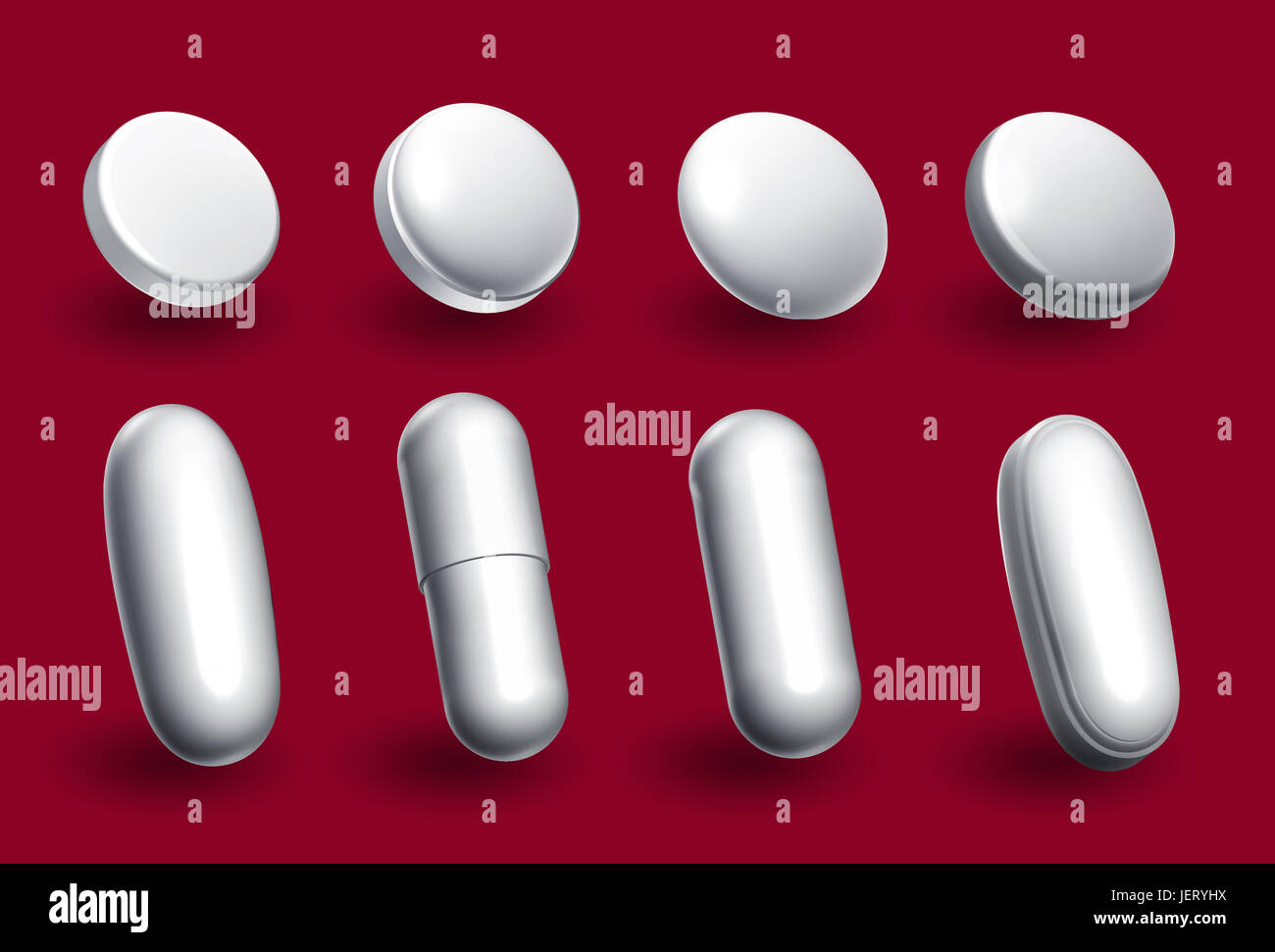 different pill shapes and sizes - Stock Image