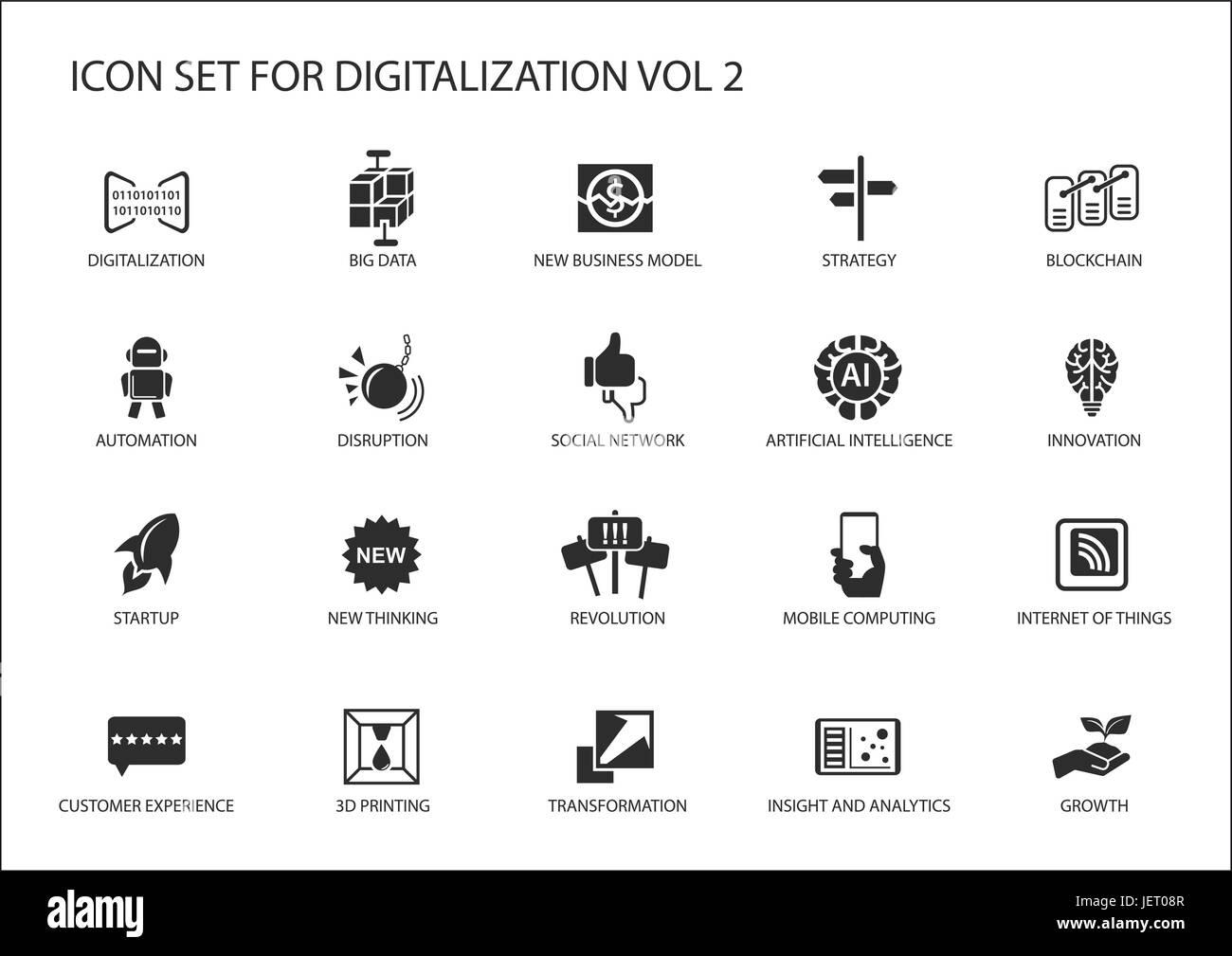 Digitalization Icon Vector Set For Topics Like Big Data Business