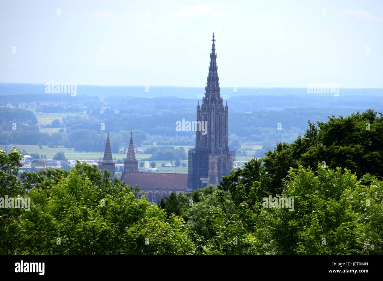 distant view over the minster of ulm with blurred air, Ulmer Münster, Ulmer Muenster, Cathedral of Ulm, steeple of church Stock Photo