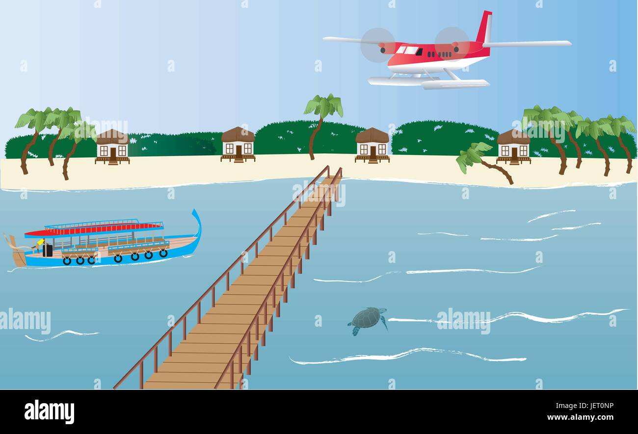 travel, summer, summerly, maldives, tropical, island, salt water, sea, ocean, - Stock Vector