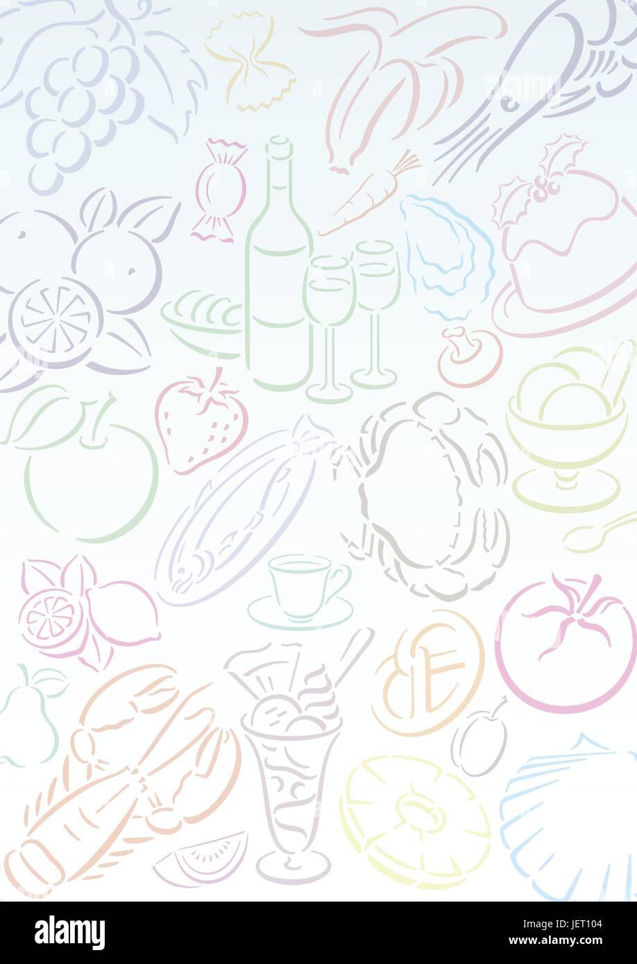 food, aliment, restaurant, food, aliment, progenies, fruits, illustration, - Stock Vector