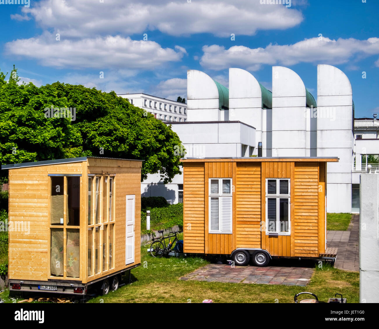 Berlin-Tiergarten,Bauhaus archives campus. Tinyhouse University project, 20 Tiny mobile houses, 10 Square meters - Stock Image