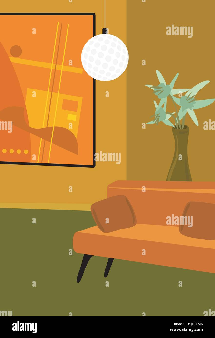 furniture, sofa, contemporary, vase, livingroom, living room, furniture, model, Stock Vector