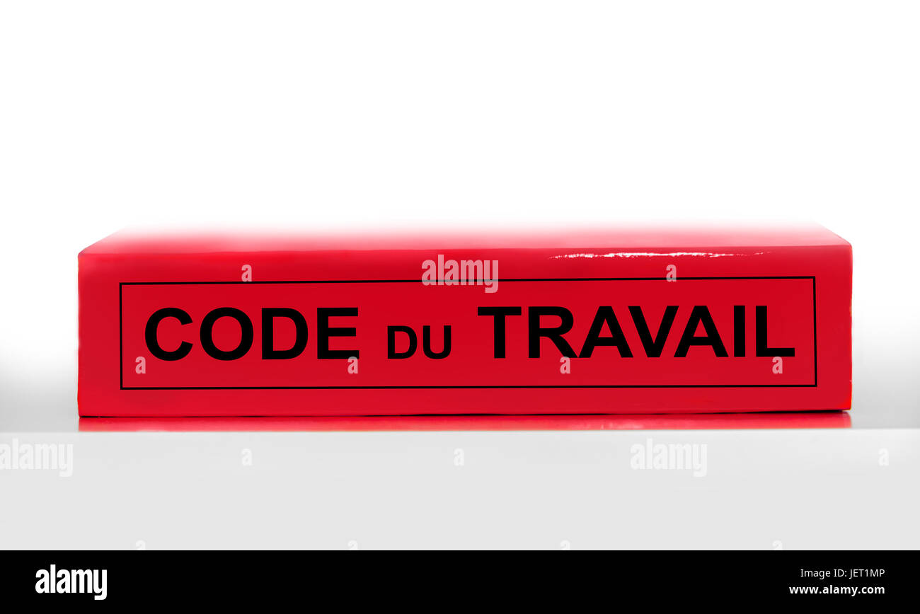 French labor code book on white background, labor code law reform in France concept - Stock Image