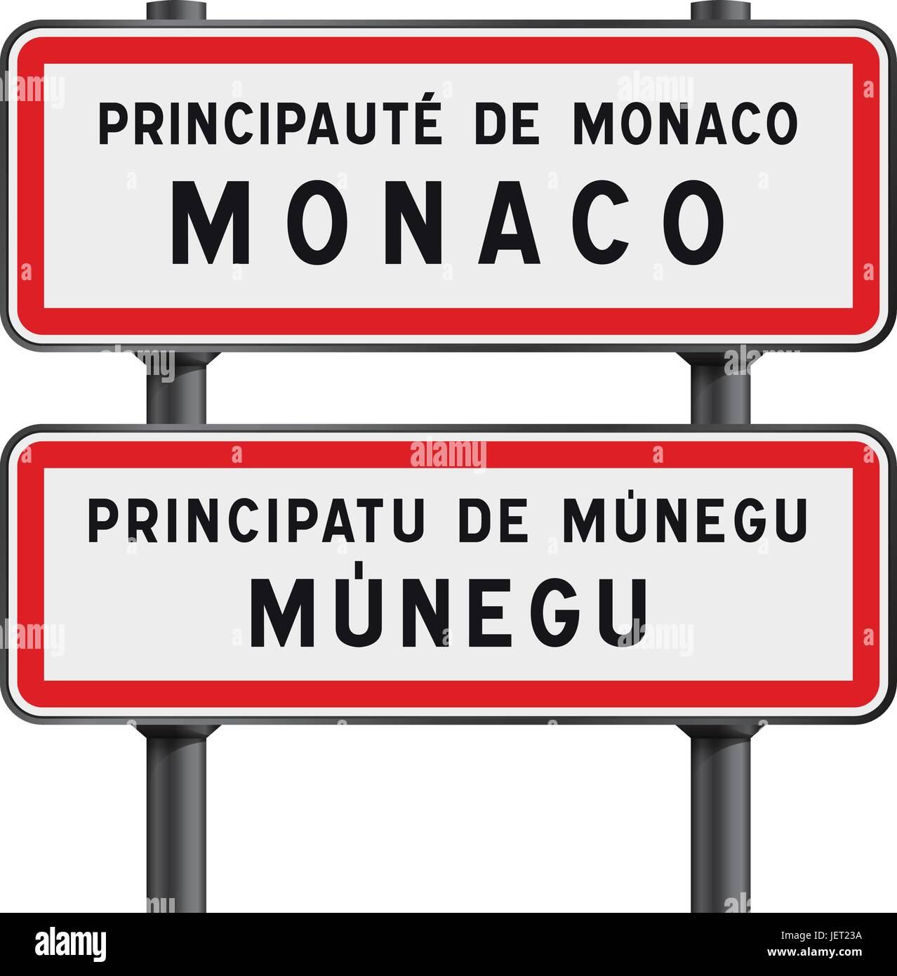 Vector illustration of Monaco road signs entrance with the Monegasque traduction Munegu - Stock Vector