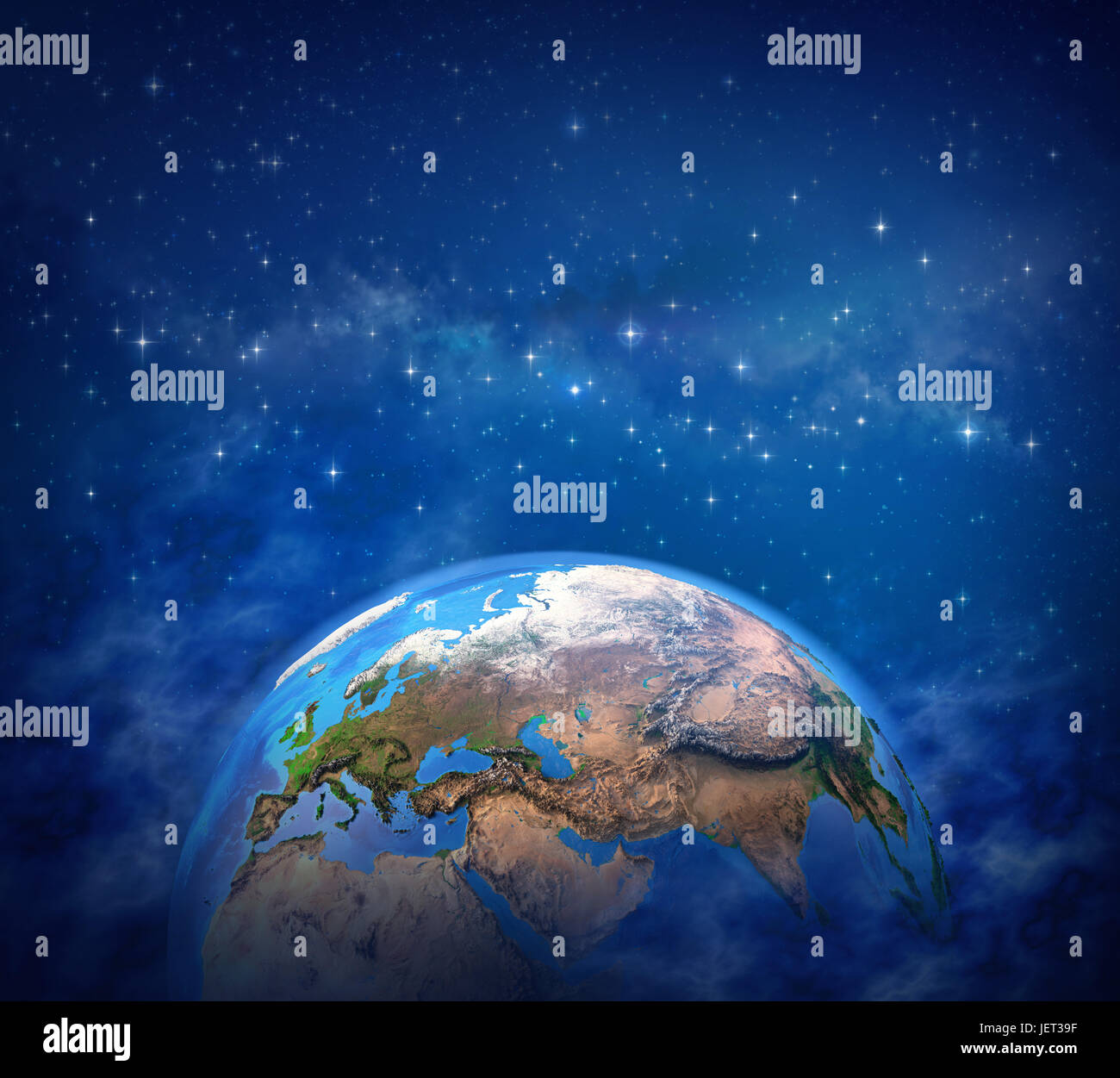 Planet Earth in deep space, star cluster and milky way far behind - Elements of this image furnished by NASA - Stock Image