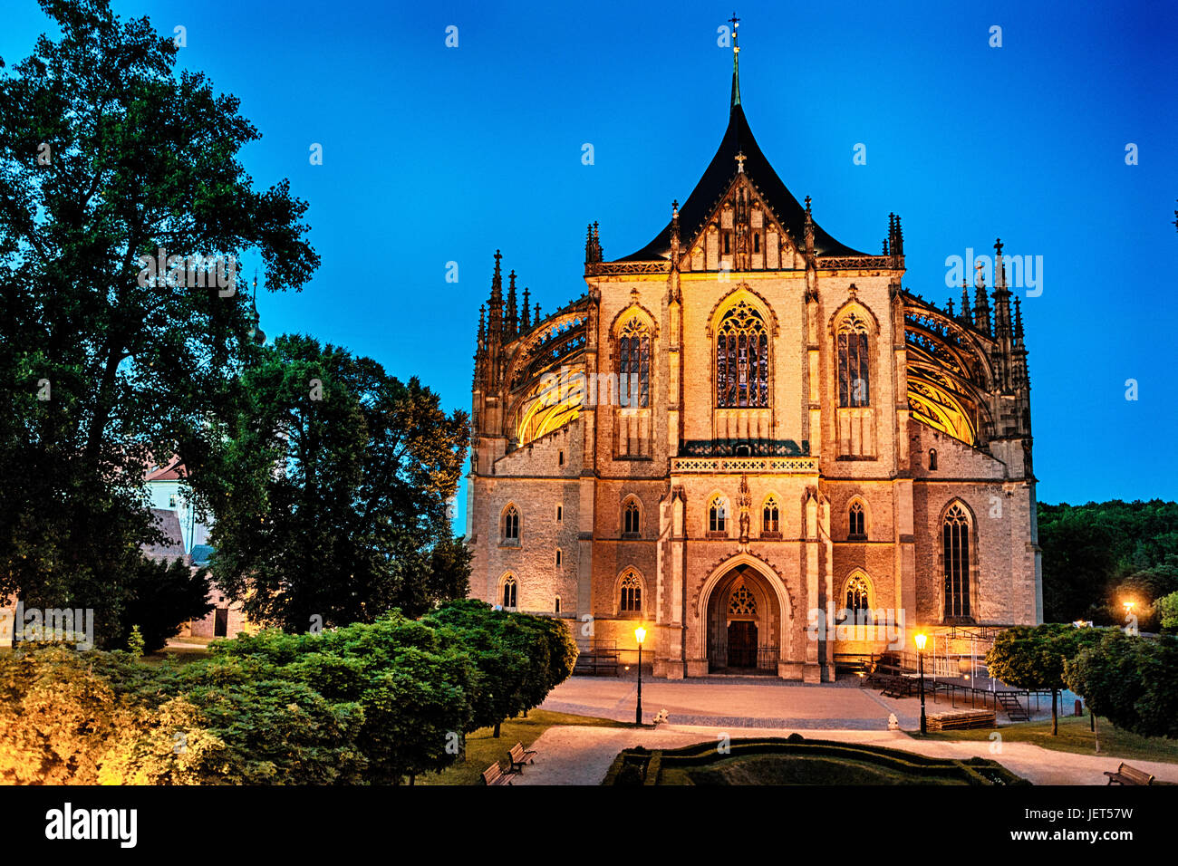 Kutna Hora Czech Republic, St Barbara Cathedral at the dusk - Stock Image