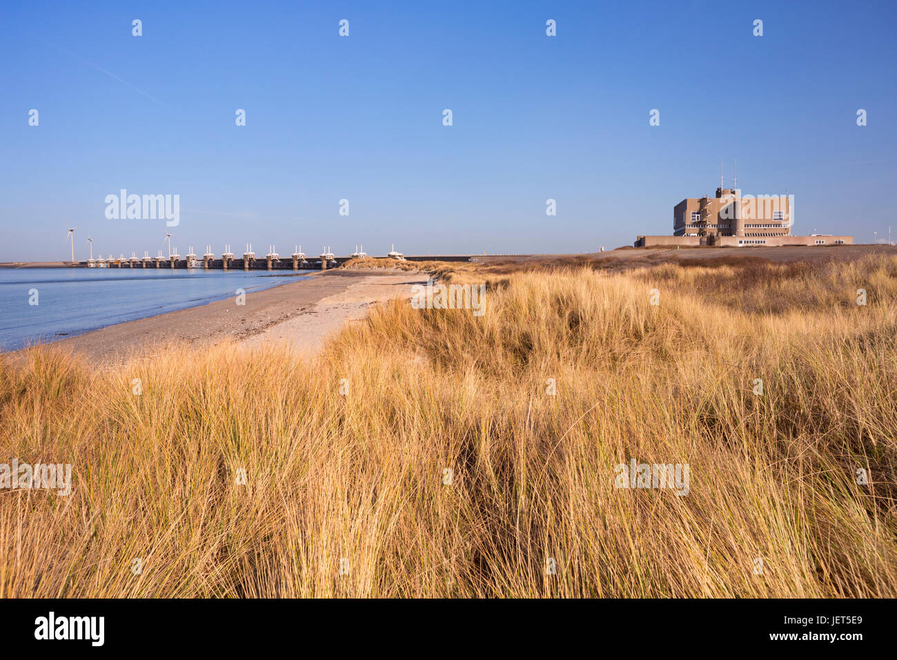 The Eastern Scheldt Storm Surge Barrier at Neeltje Jans in the province of Zeeland in The Netherlands. - Stock Image