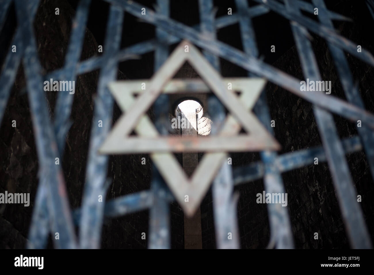 03.06.2017, Dachau, Bavaria, Germany, Europe - Gate to the chapel of the Jewish Memorial at the Memorial Site of Stock Photo