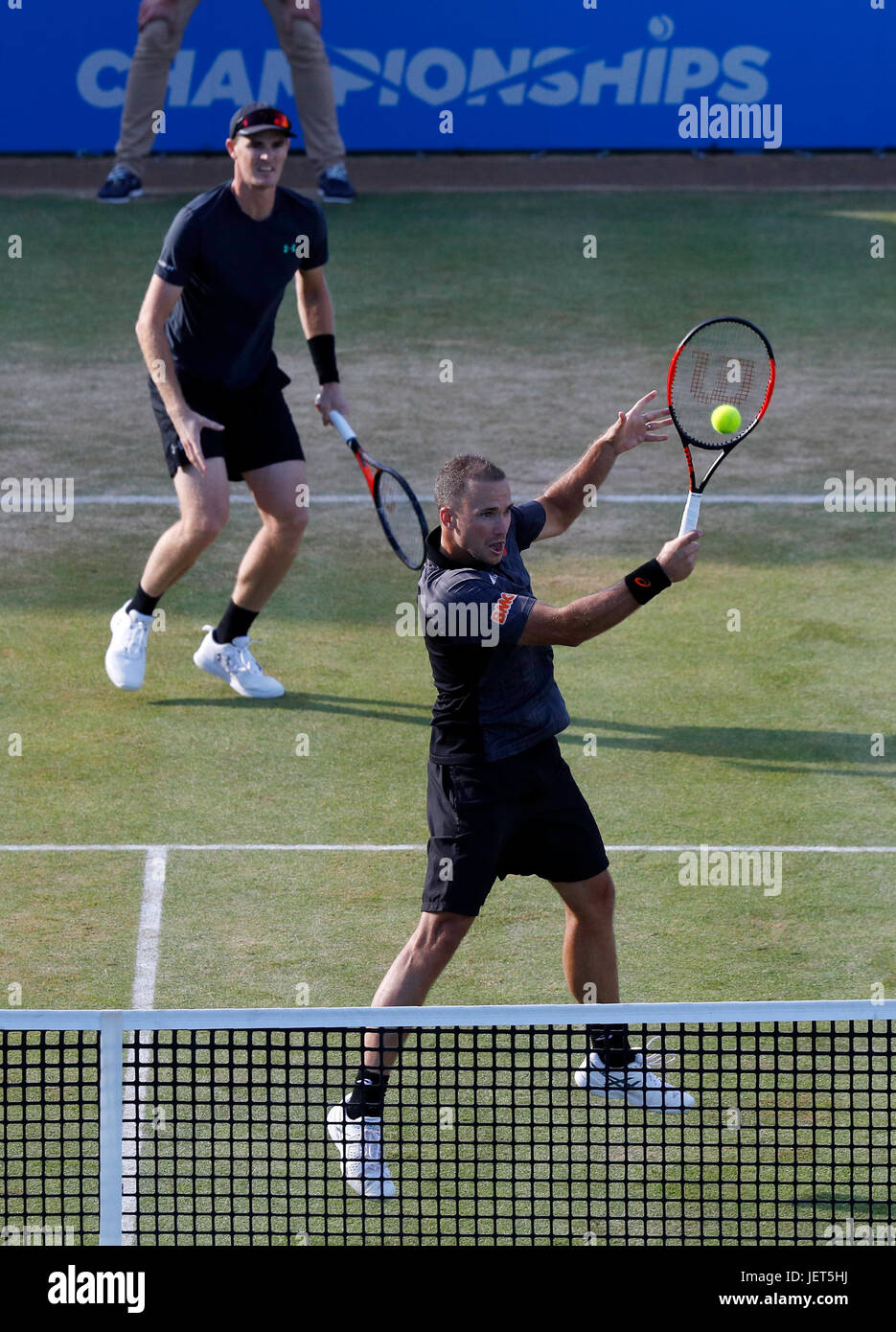 Britain's Jamie Murray and Brazilian Bruno Soares during the Men's tennis doubles final at the Aegon Championships - Stock Image