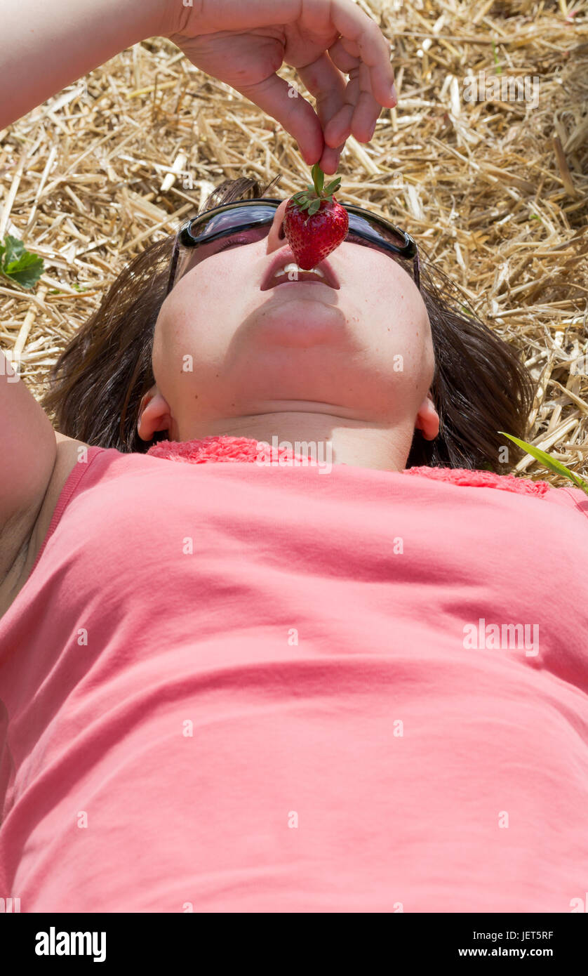 Young adult candid woman lying on straw in sunny summer day eats red strawberry. Vertical low angle full frame portrait - Stock Image