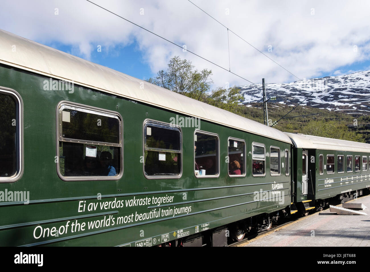 Flamsbana or Flam Railway train by the station platform. Described as one of world's most beautiful railways. - Stock Image