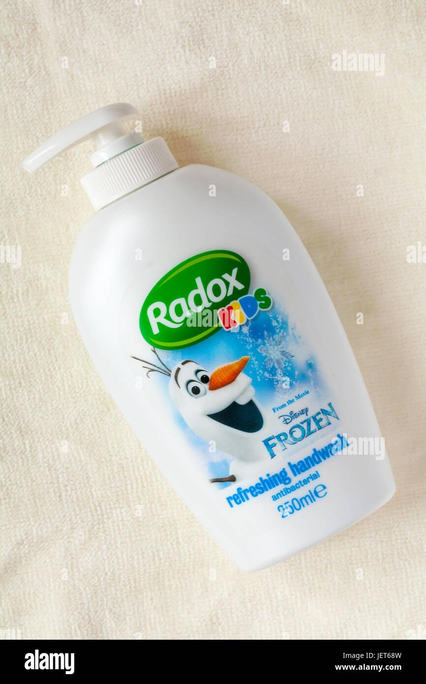 Radox Kids refreshing handwash antibacterial from the movie Disney Frozen on cream coloured towel - hand wash - Stock Image