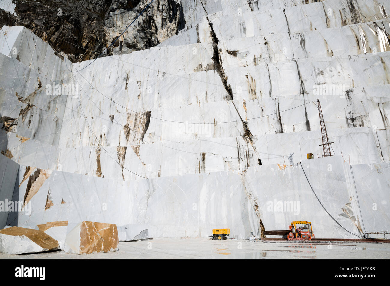 Europe, Italy, Carrara, Marble Quarries.  Carrara marble is a type of white or blue-grey marble of high quality, Stock Photo