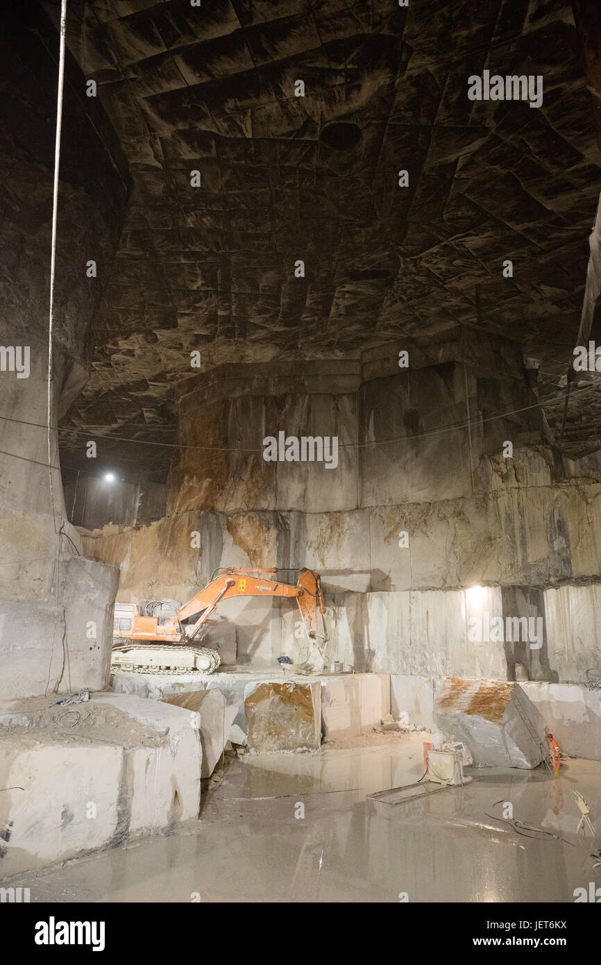 Europe, Italy, Carrara, Marble Quarries.  Carrara marble is a type of white or blue-grey marble of high quality, - Stock Image
