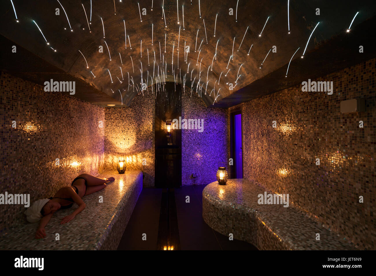 Europe, Italy, Helvetia Thermal SPA Hotel Porretta Terme  turkish bath with color therapy and soft lighting with - Stock Image