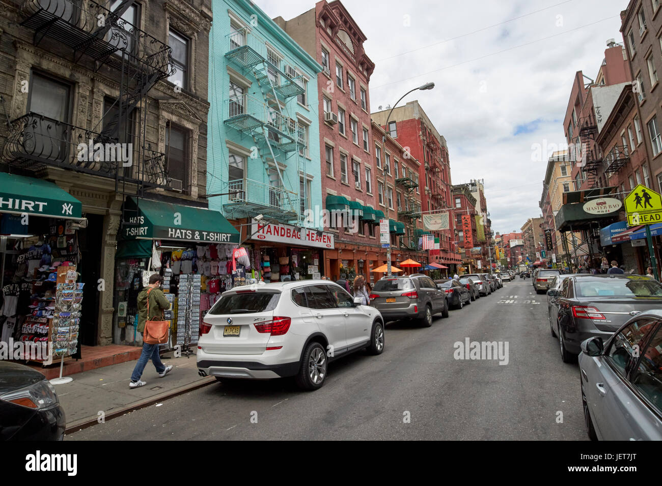 mulberry street little italy New York City USA - Stock Image