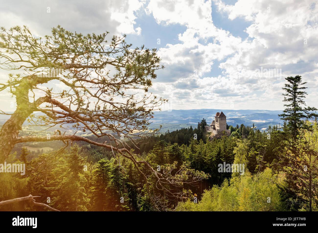 The Kasperk castle in sunny day, National Park Sumava. Kasperk castle near little town of Kasperske Hory, Bohemian Stock Photo
