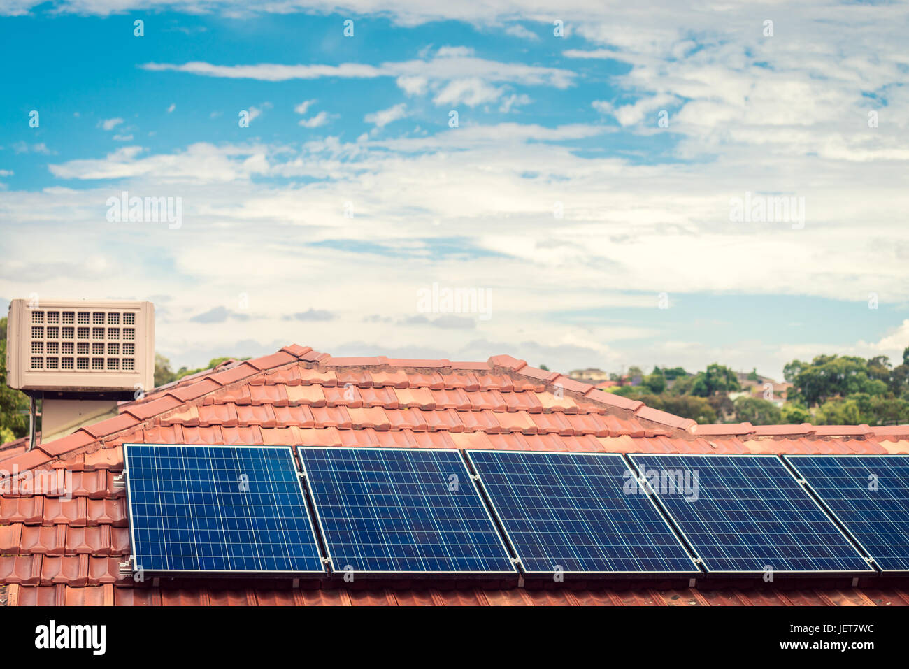 Solar panels installed on the house roof in one of the Melbourne suburbs, Victoria, Australia - Stock Image