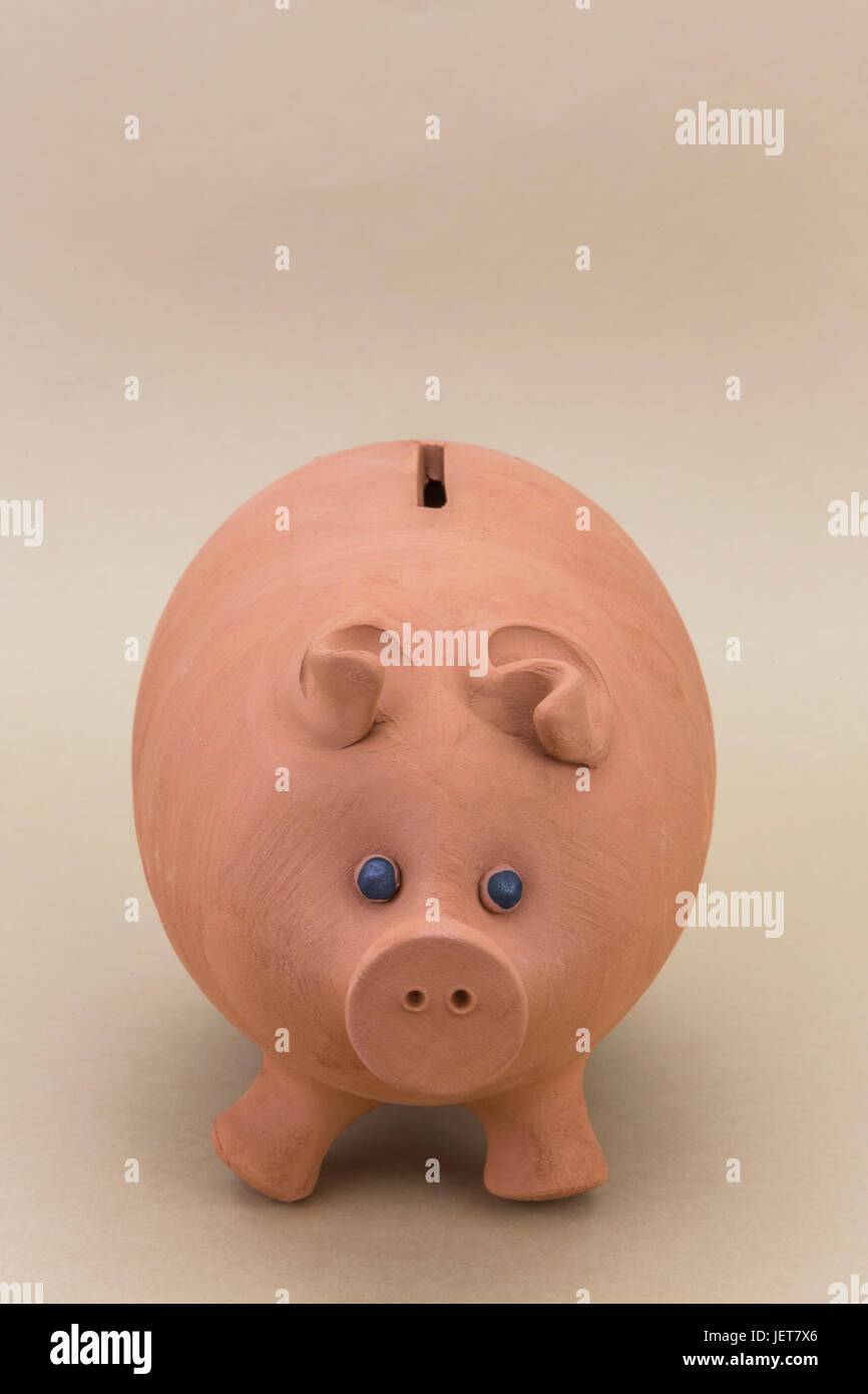 kids pink piggy bank looking forward isolated on brown background