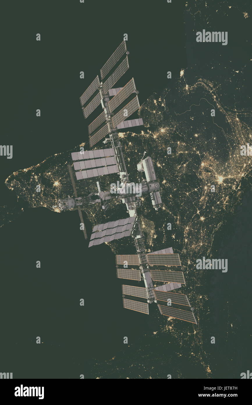 International Space Station over Europe. Elements of this image furnished by NASA. Stock Photo
