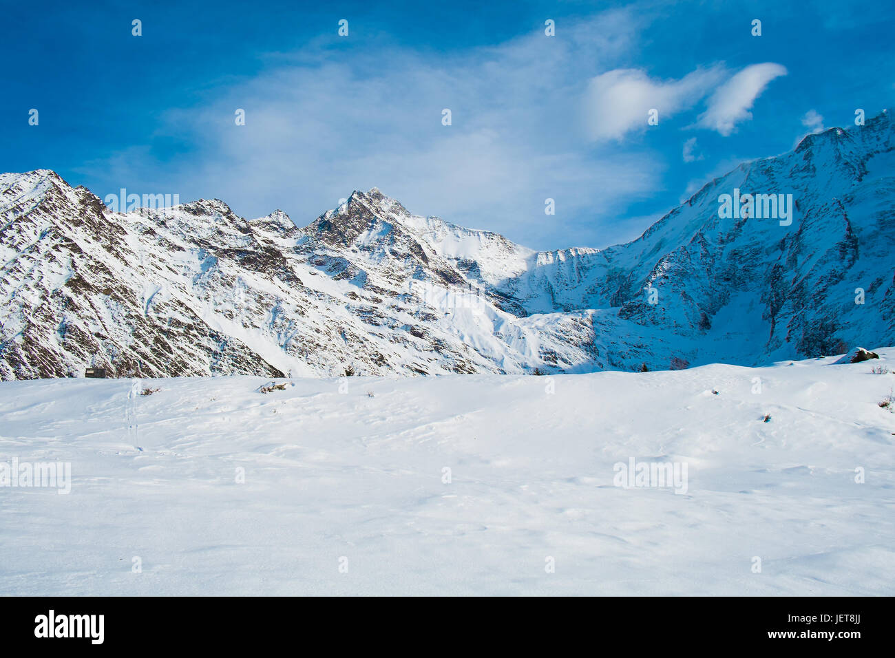 The Mont Blanc of Miage from les chalets de Truc, Les Contamines, Chamonix, France - Stock Image