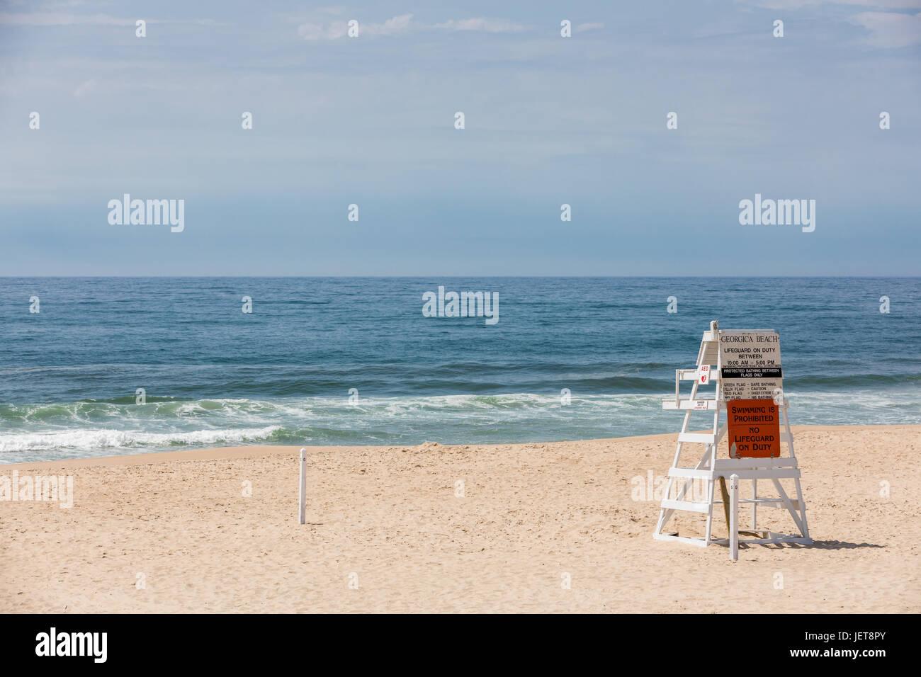 empty life guard stand at Georgica Beach, East Hampton, NY - Stock Image