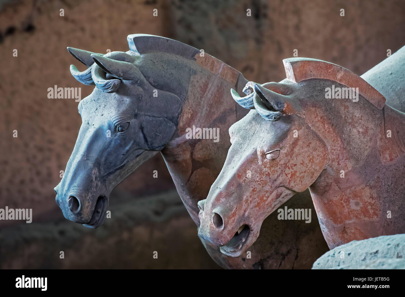 Horses from the world famous Terracotta Army, part of the Mausoleum of the First Qin Emperor and a UNESCO World - Stock Image