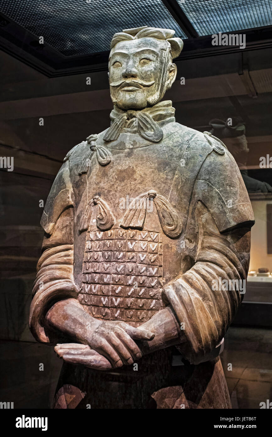 One of eight generals unearthed of the world famous Terracotta Army, part of the Mausoleum of the First Qin Emperor - Stock Image