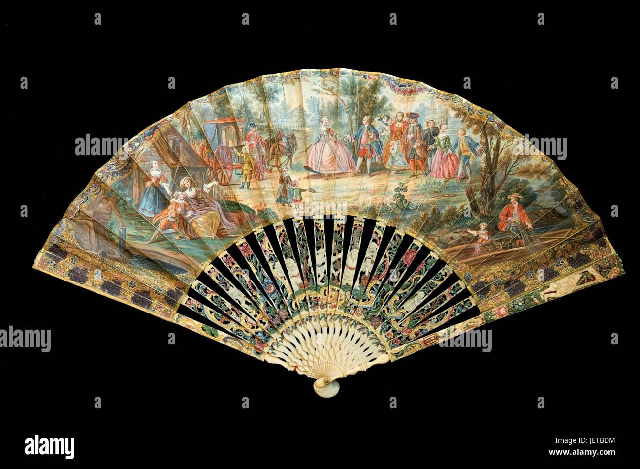 France, Paris, Musee de l'Eventail, fields, 'Scene galante inspiree du mariage de Louis XV', in 1750, - Stock Image