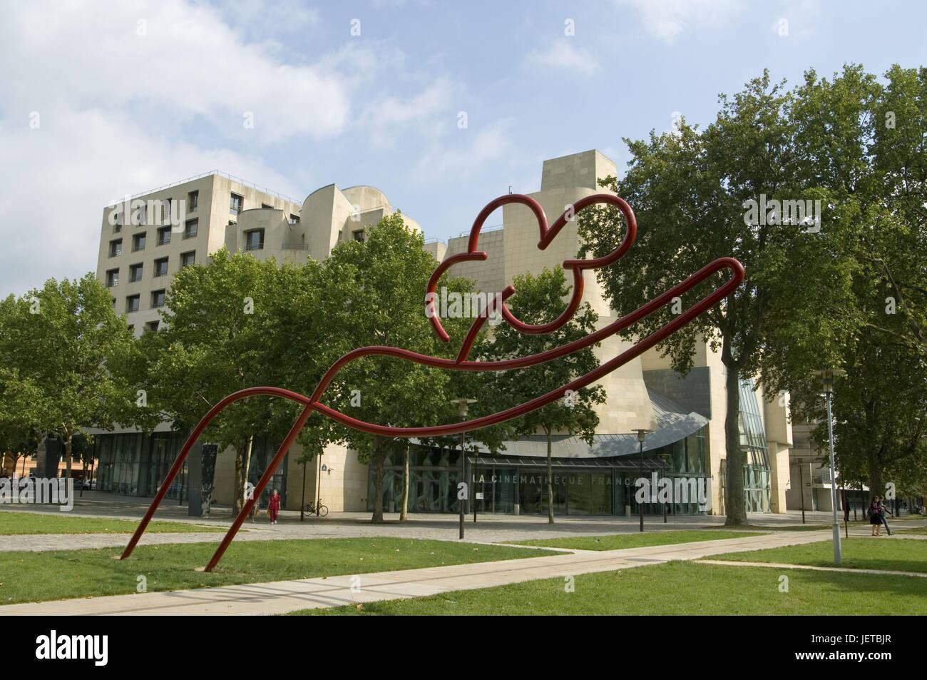 France, Paris, Rue de Bercy, film institute 'Cinematheque of franc As sharp', sculpture, - Stock Image
