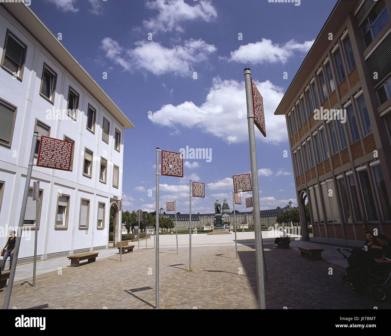 Germany, Baden-Wurttemberg, Karlsruhe, 'space of the fundamental rights', text notice boards, town, centre, - Stock Image