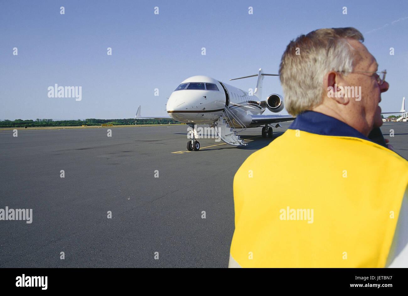 Germany, North Rhine-Westphalia, Paderborn-Lippstadt, airport, man, landing field, airplane, Teutoburger wood, Paderborn, - Stock Image