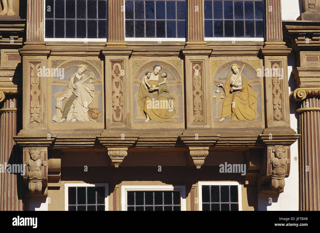 Germany, North Rhine-Westphalia, Lemgo, witch's mayor's house, bay window, detail, Teutoburger wood, Lemge, - Stock Image