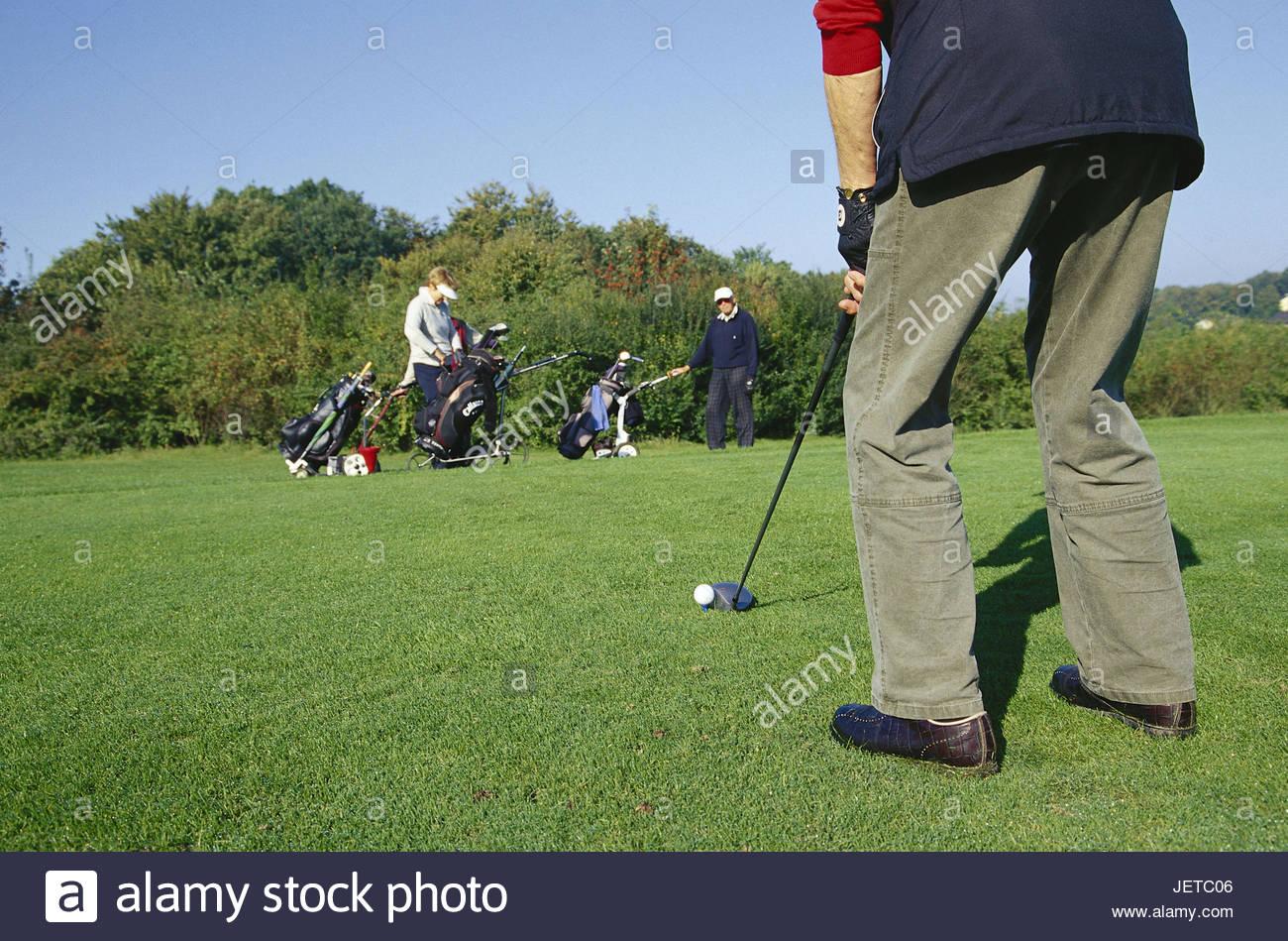 Germany, North Rhine-Westphalia, Halle, golf club of Teutoburger wood, golfer, punt, Westphalian, sport, leisure - Stock Image