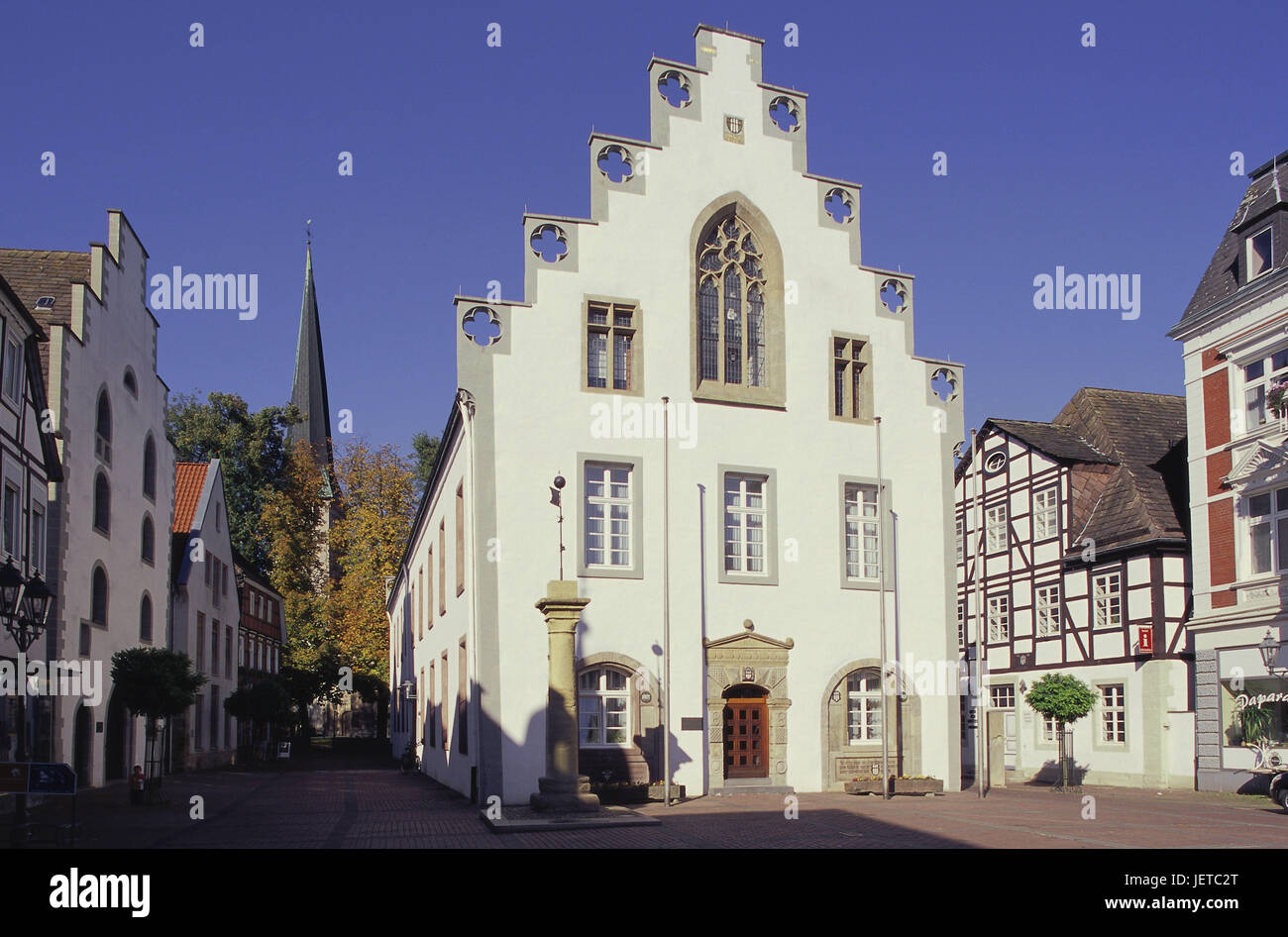 Germany, North Rhine-Westphalia, Brakel, Old Town, in the market, city hall, Teutoburger wood, Weser mountainous - Stock Image