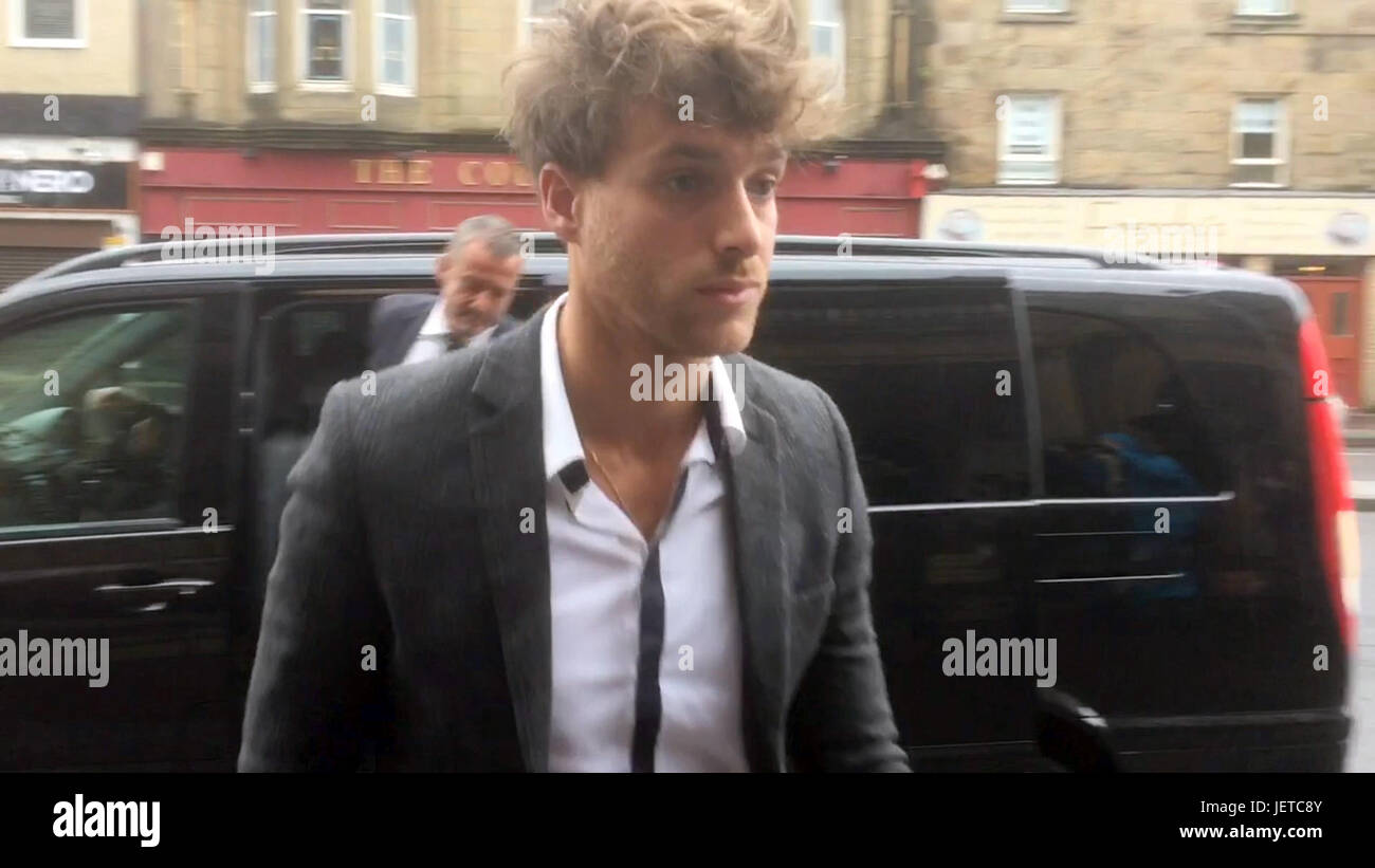 Singer Paolo Nutini arriving at Paisley Sheriff Court where he trial accused of driving on various streets in Paisley - Stock Image