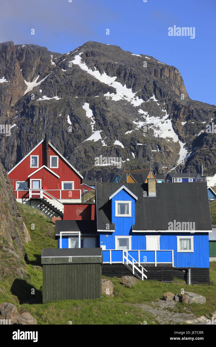Greenland, Sisimiut, timber houses, mountain, snow leftovers, Western Greenland, town, destination, building, architecture, Stock Photo