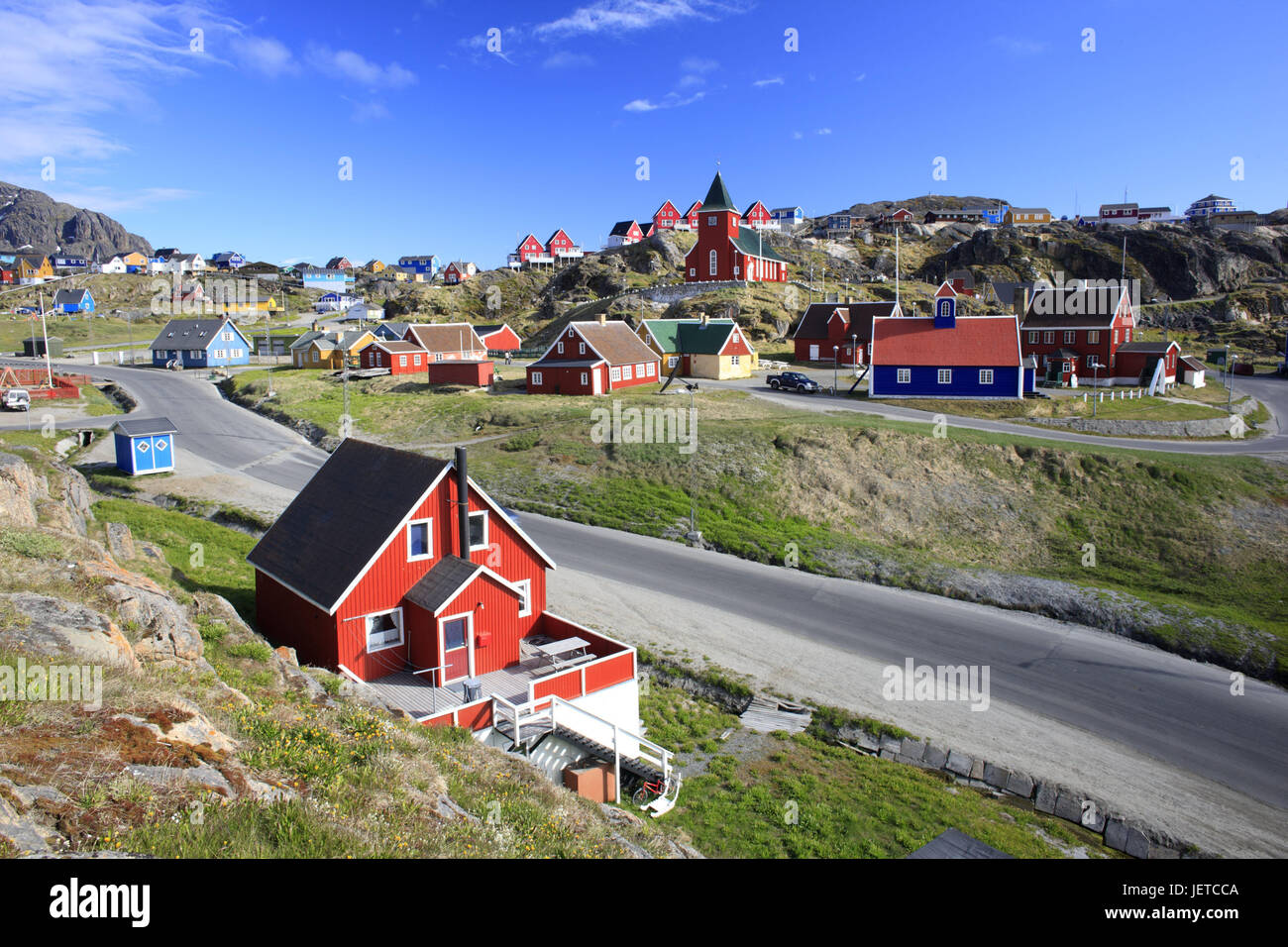 Greenland, Sisimiut, town view, timber houses, church, Western Greenland, town, destination, building, architecture, - Stock Image